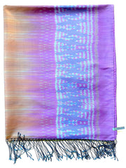 Silk Ikat Shawl Or Throw Amethyst Copper