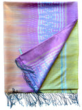 Large Silk Ikat Shawl Throw Aqua Celadon Red