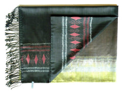 Silk Ikat Shawl Or Throw Burnt Orange Geometric