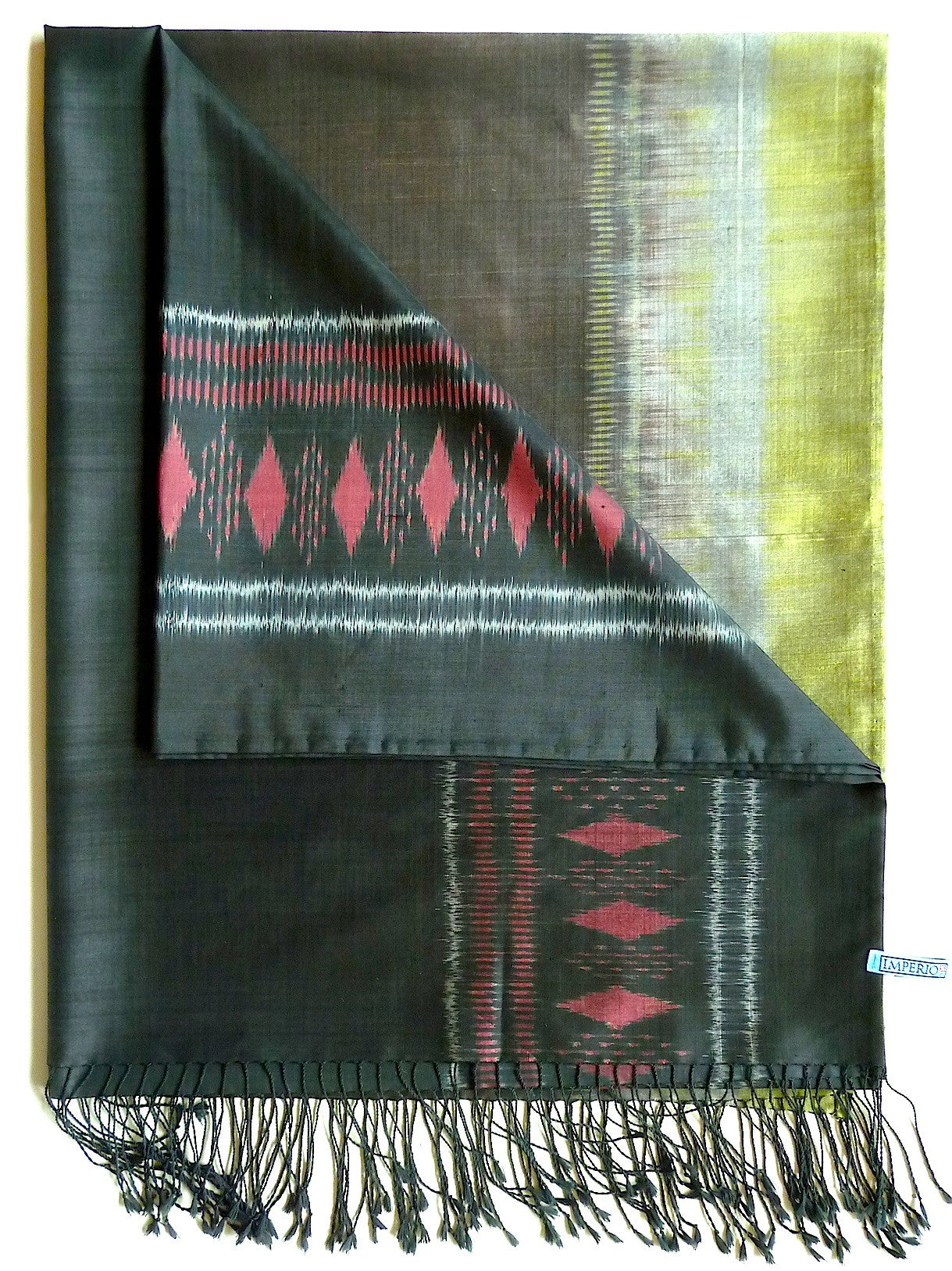 Silk Ikat Shawl Or Throw Black Brown Celadon