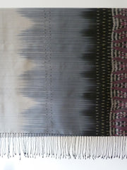 Silk Ikat Shawl Or Throw Black And Silver