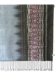 Silk Ikat Shawl Or Throw Teal Amethyst