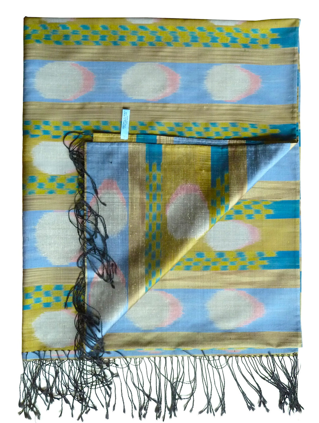 Silk Ikat Shawl Or Throw Cerulean Gold Silver