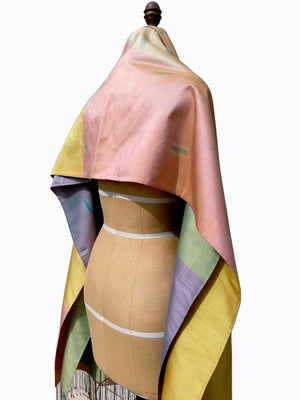 Large Silk Ikat Shawl Throw Pastel