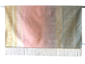 Silk Ikat Shawl Or Throw Pink Gold Blue