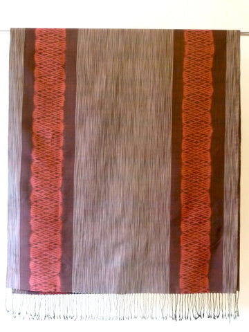 Silk Ikat Shawl Or Throw Chocolate Coral Cream