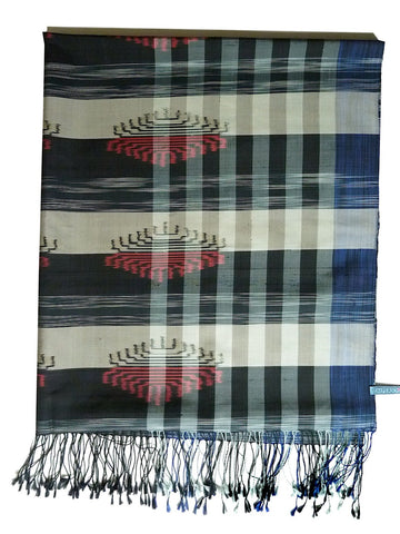 Silk Ikat Shawl Or Throw Black White