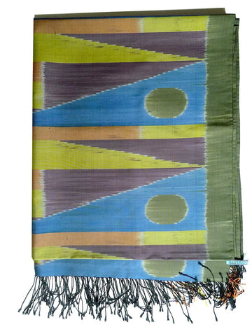 Silk Ikat Shawl Or Throw Olive Terracotta Colorblock