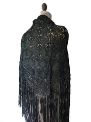 Silk Macrame Triangle Shawl Silver