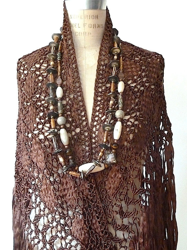 Silk Macrame Triangle Shawl Wine