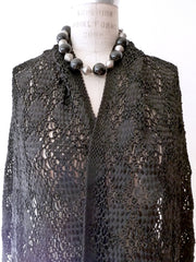 Silk Macrame Long Stole Black Or Beige