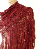 SILK MACRAME TRIANGLE SHAWL CHOCOLATE