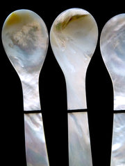 Mother Of Pearl Spoons Set Of 4 In Silk Box