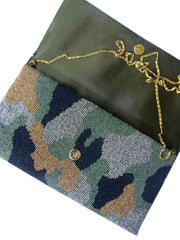 Beaded Large Envelope Clutch Bag Camouflage