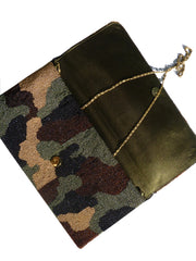 Beaded Large Envelope Clutch Bag Camouflage Royal Blue