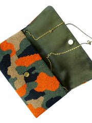 Beaded Large Envelope Clutch Bag Camouflage Turquoise