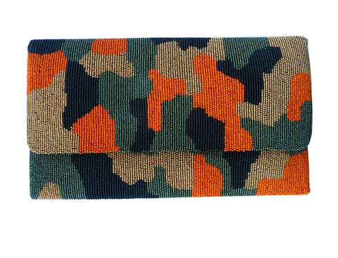 Beaded Large Envelope Clutch Bag Camouflage Orange