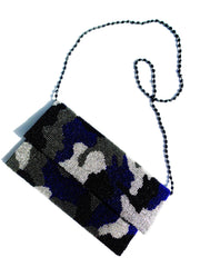 Beaded Envelope Clutch Bag Camo Royal Blue