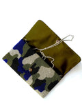 Beaded Large Envelope Clutch Bag Camouflage Gold