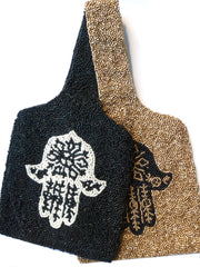 Beaded Wrist Bag Hamsa Black Or Gold