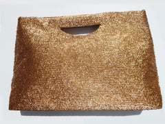 Beaded Evening Bag with Handle Matte Black or Gold 2 Sizes