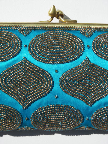 Mosaic Beaded Evening Bag On Satin
