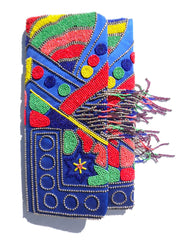 Large Beaded Envelope Clutch Bag With Fringe