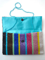 Beaded Envelope Clutch Bag Bright Stripes