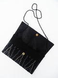 Beaded Envelope Clutch Bag Black ZigZag