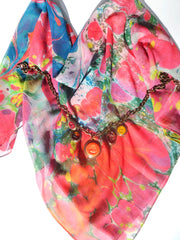 Marbleized Silk Chiffon Square Scarf Fruit Cocktail