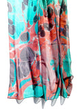 Marbleized Silk Chiffon Square Scarf Granite
