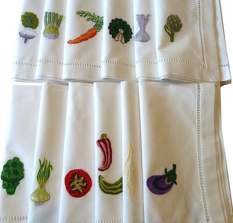 Napkins Set Of 12 Hand Embroidered Vegetable