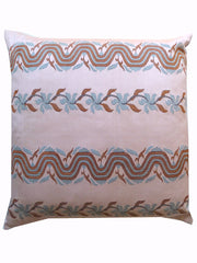 Burmese Silk Sarong Pillow Soft Pink Grey Ribbon