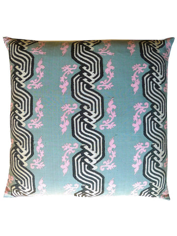 Burmese Silk Pillow Grey Black White Ribbon