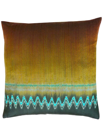 Thai Silk Modern Ikat Pillow Gold Red Black
