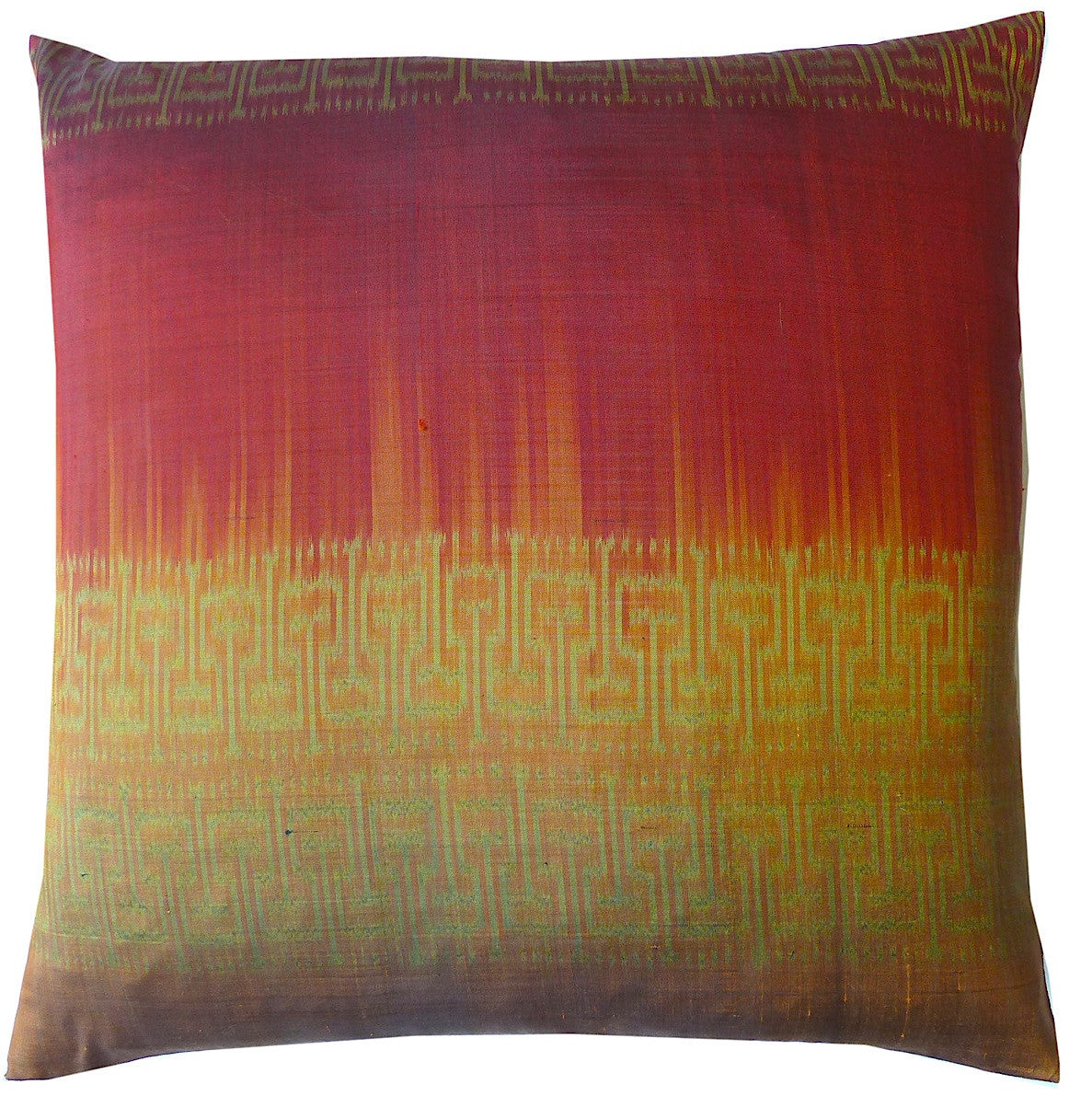 Thai Silk Modern Ikat Pillow Red Copper