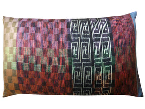 Thai Silk Modern Ikat King Size Pillows  Sold As Pair Orange Black