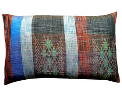 Thai Silk Modern Ikat King Size Pillows  Sold As Pair Red White Blue