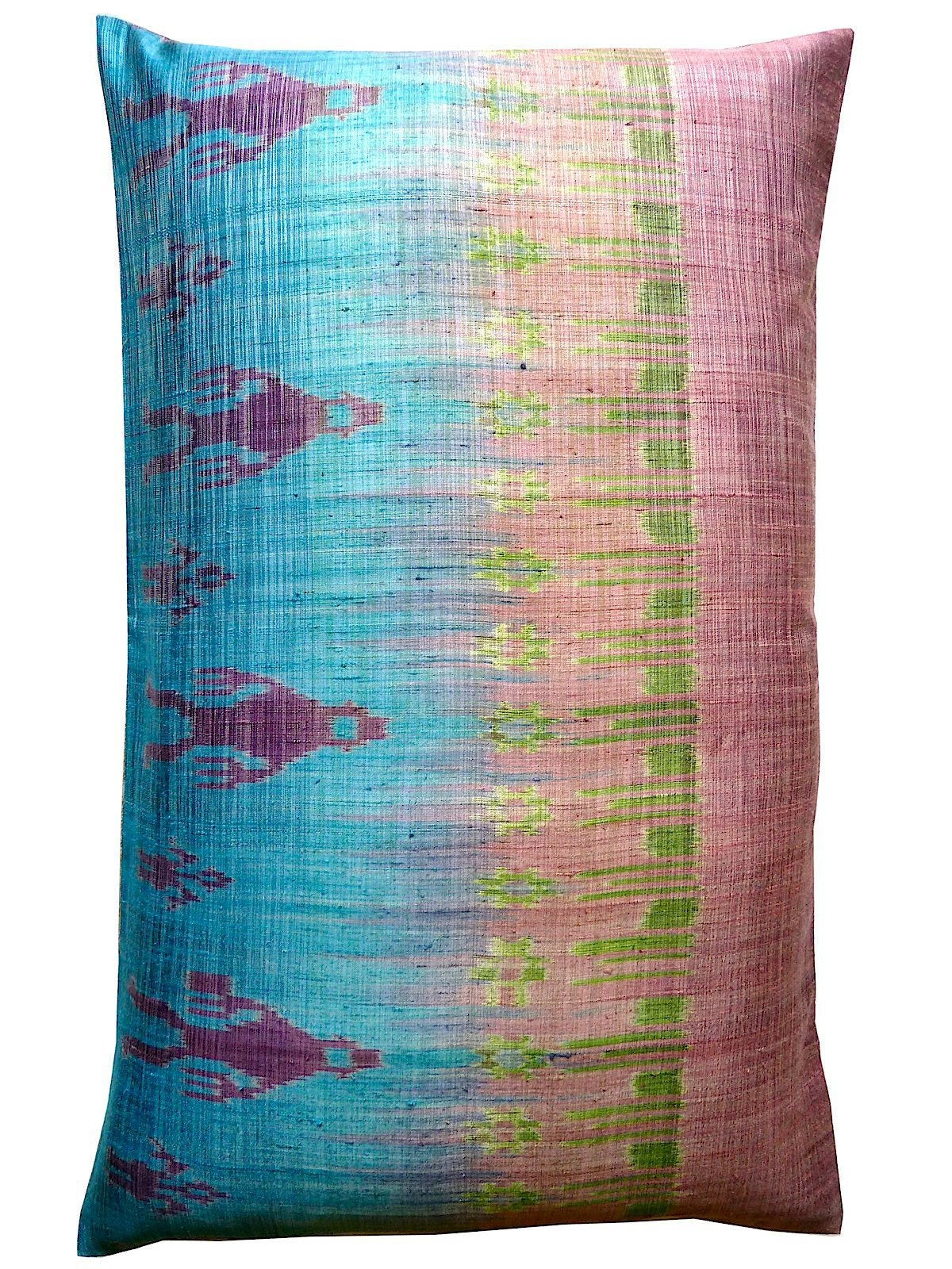 Thai Silk Modern Ikat Pillow King Sold As Pair Pink Turquoise