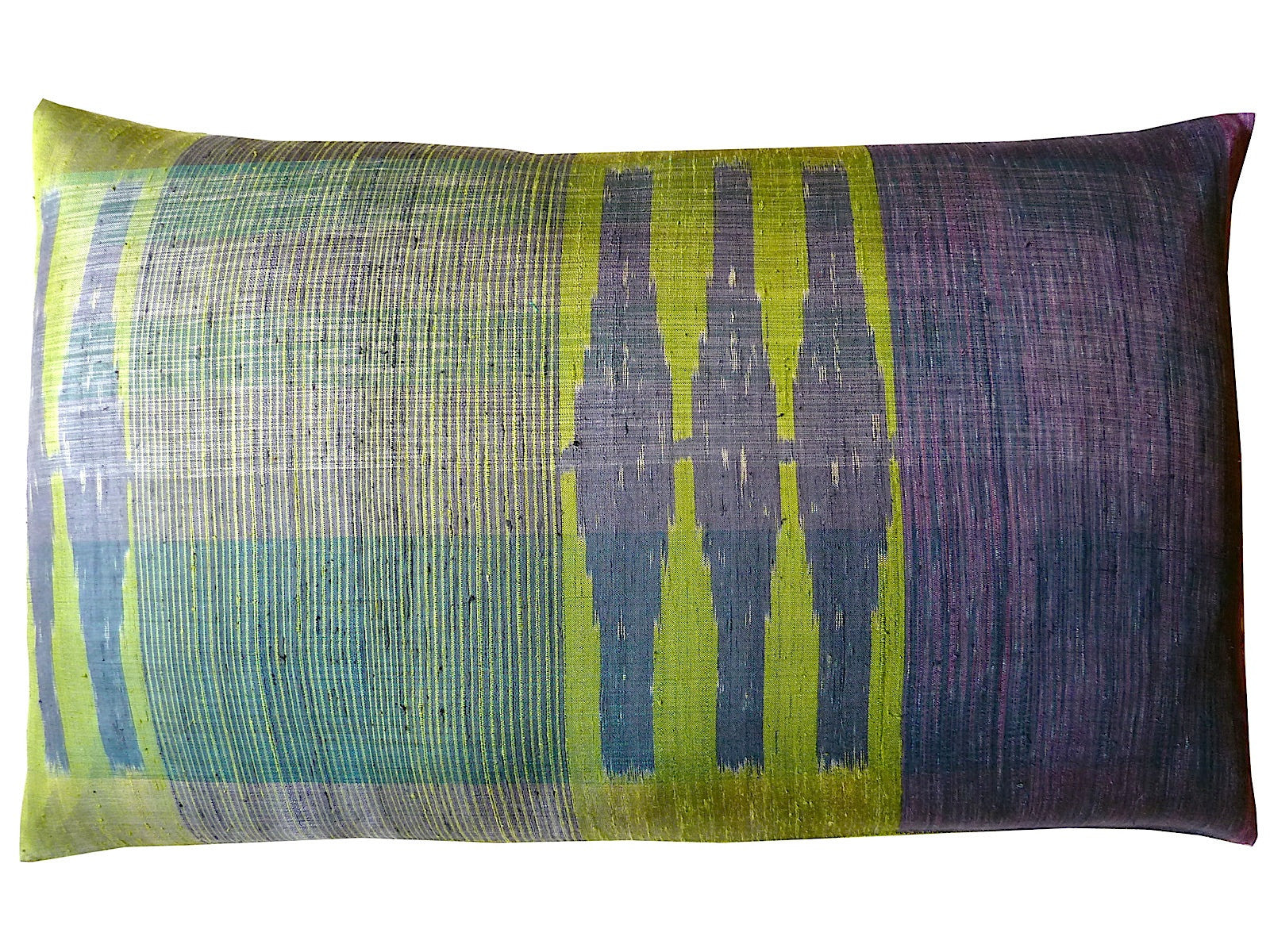 Thai Silk Modern Ikat King Size Pillows Sold As Pair Chartreuse Purple