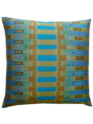 Thai Silk Modern Ikat Pillow Turquoise Gold Bars