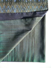 Silk Ikat Double Sided Shawl Black And Midnight Blue