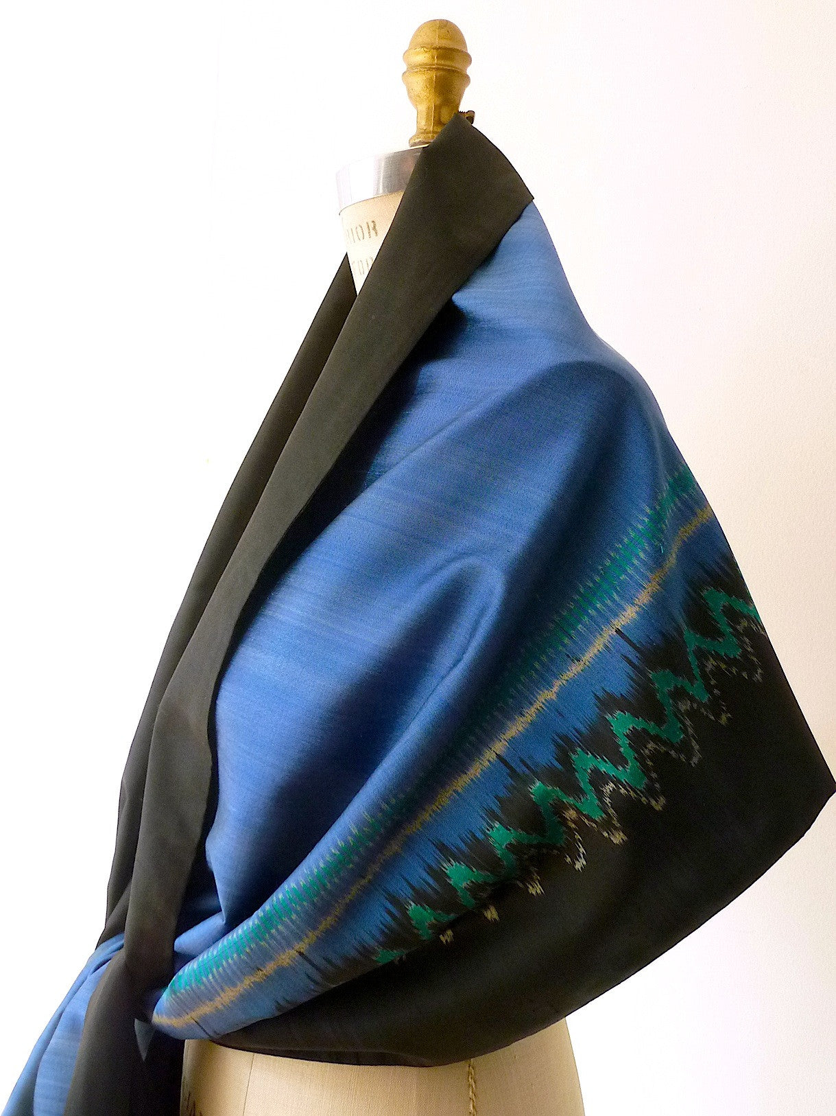 Silk Ikat Double Sided Shawl Black And Cobalt