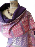 Silk Ikat Double Sided Shawl Cranberry Purple