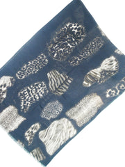 Shawl Silk And Cashmere Mixed Animal Print Black and Beige