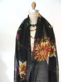 Shawl Silk And Cashmere Navy And Black Modern Loop