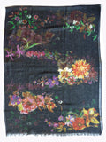 SHAWL SILK AND CASHMERE BLACK FLORAL