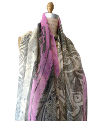 SHAWL SILK AND CASHMERE PAISLEY PINK BLACK AND WHITE