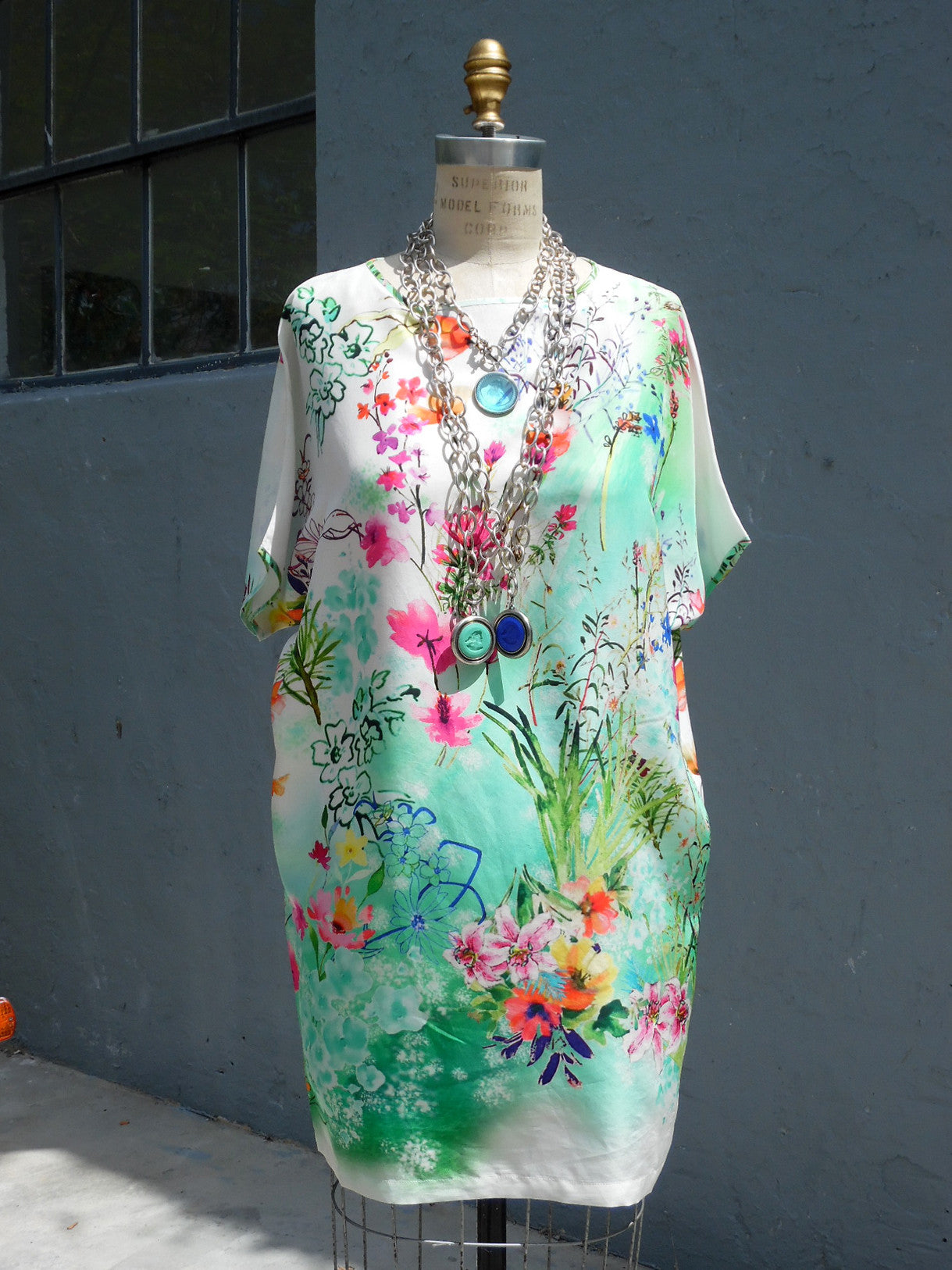 SILK BLOUSON TOP OR MINIDRESS FLORAL