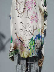 Silk Caftan Japanese Birds And Flowers